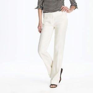 J. Crew Ivory Cream Linen Trousers Pants